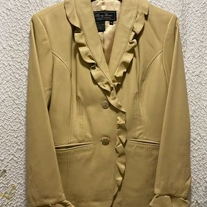NWT Terry Lewis luxury Lined tan Leather Jacket.